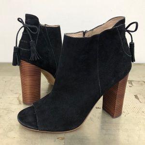 Halogen Warin Open Toe Suede Leather Booties